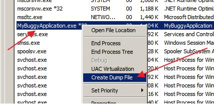 Memory Dump in Task Manager
