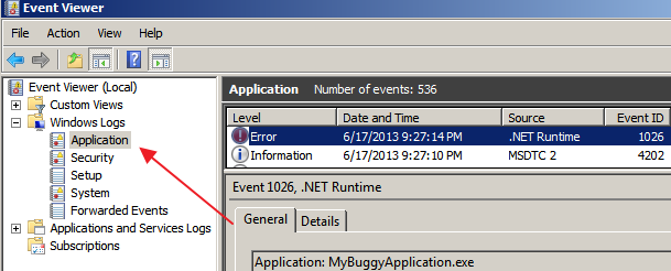 Application Event Log